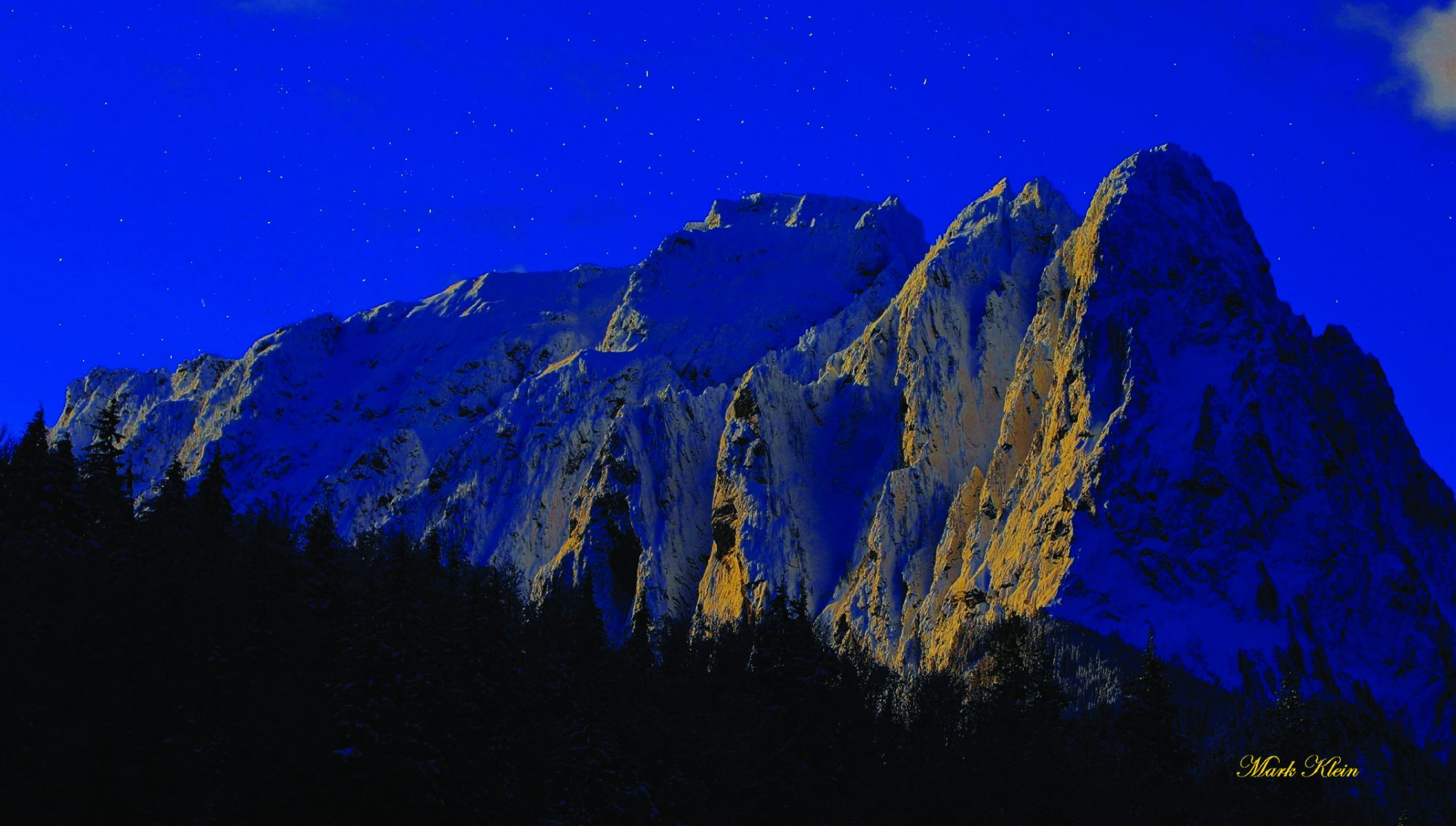 Night sky with mountains